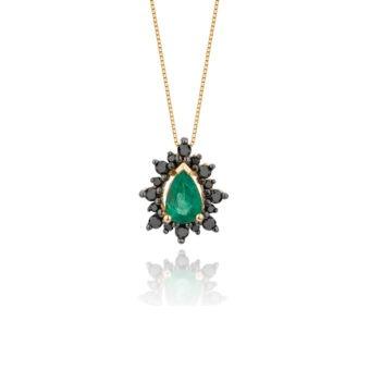 Colar Vintage em Ouro Amarelo 18k, Diamantes Negros e Esmeralda