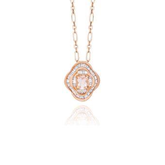 Colar Baguete em Ouro Rosa 18k, Diamantes e Morganita