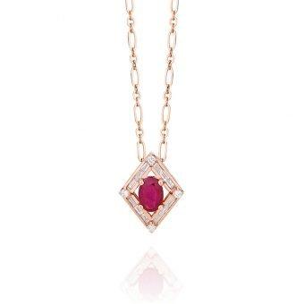 Colar Baguete Retrô em Ouro Rosa 18k, Diamantes e Rubi