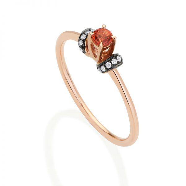 f7114c169e2d7 Anel Solitário Nouveau em Ouro Rosa 18k, Diamantes e Safira Laranja