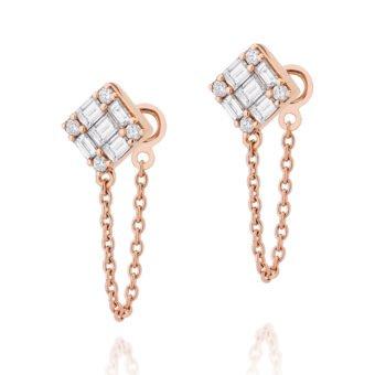 Brinco Luce em Ouro Rosa 18K e Diamantes Baguete