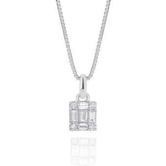 Colar Luce em Ouro Branco 18K e Diamantes Baguete