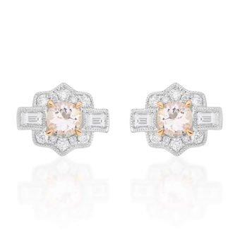 Brinco Classique em Ouro branco 18k, Diamantes e Morganita