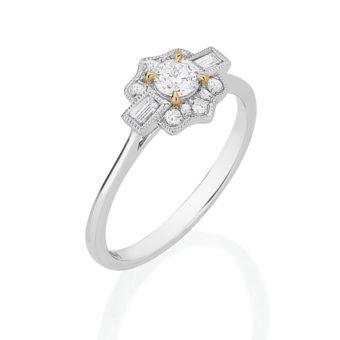 Anel Classique em Ouro branco 18k e Diamantes