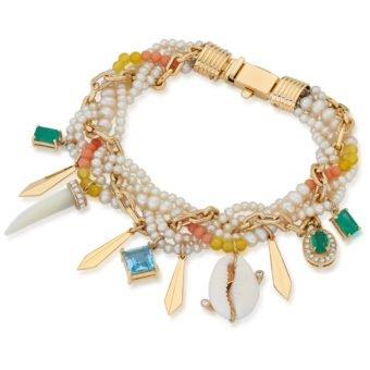 Pulseira Etíope em Ouro 18k, diamantes, esmeraldas e topázio azul